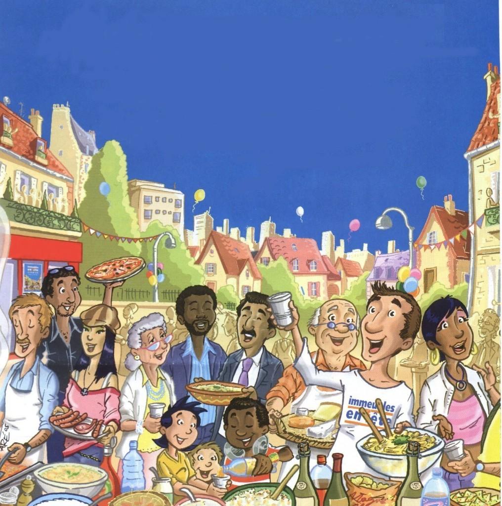 affiche pour repas de quartier 2007