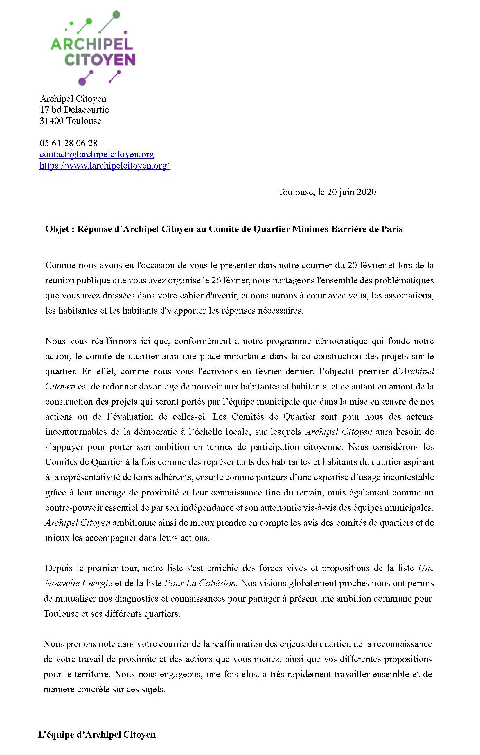 Archipel Citoyen - Réponse Lettre 2 CQ Minimes