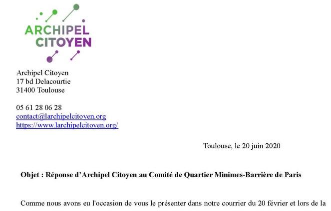 Réponse d'Archipel Citoyen à notre lettre ouverte du 16 juin.